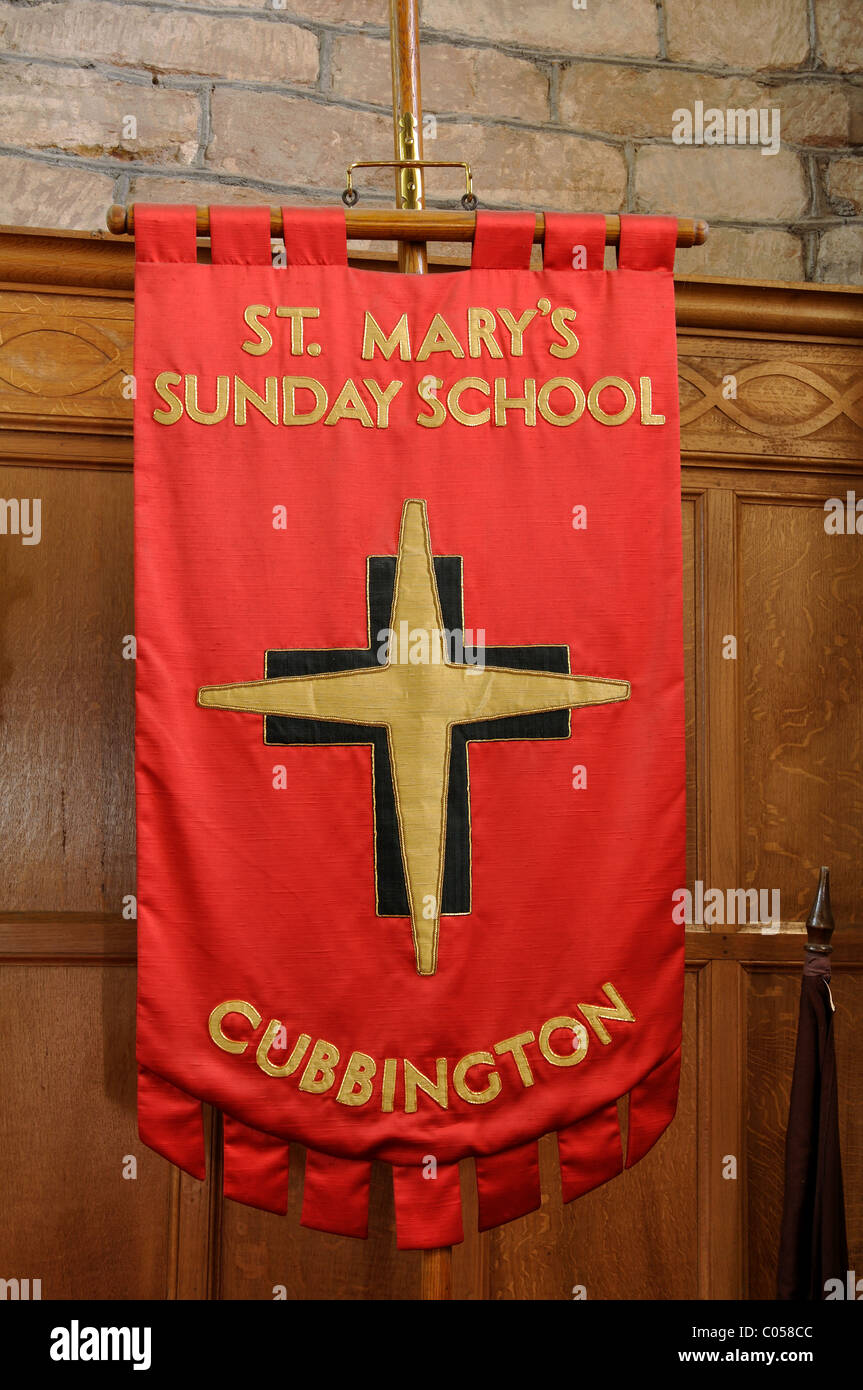 Sunday school banner in St. Mary`s Church, Cubbington, Warwickshire, UK - Stock Image