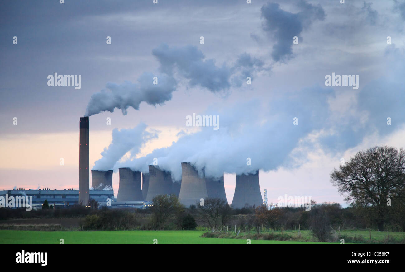 Steam billowing from Drax power station near Selby England - Stock Image