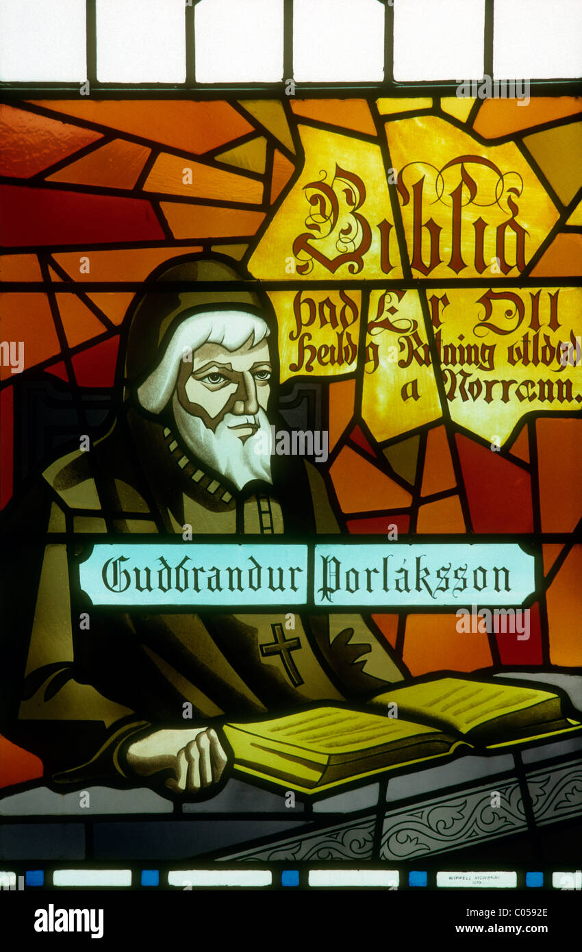 A stained glass window in the cathedral at Akureyri, Iceland showing Bishop Gudbrandur Thorlaksson. Stock Photo