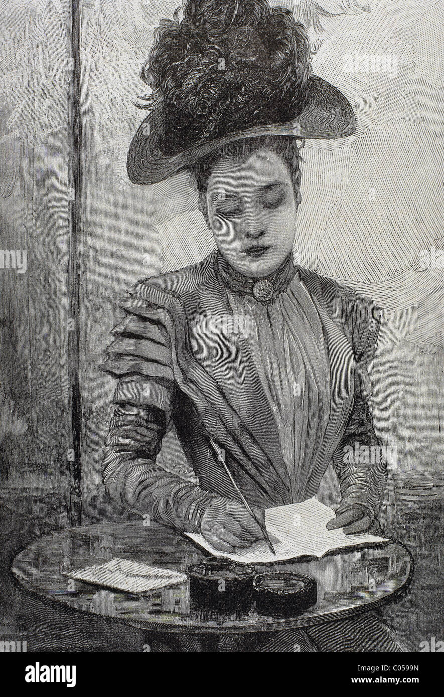 Lady writing a letter Engraving from 1888 Stock Royalty