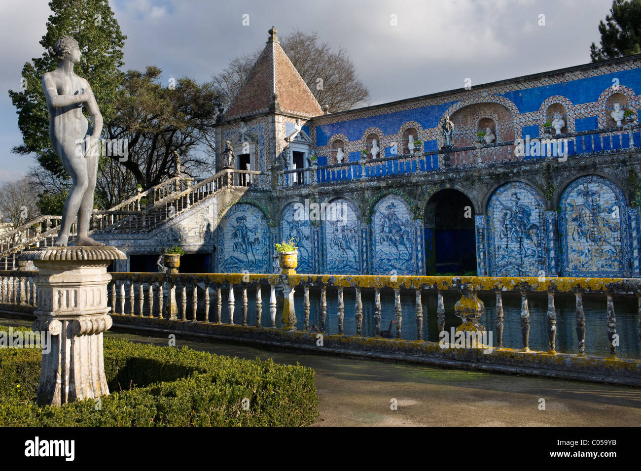 In the water garden at Palacio Fronteira, Lisbon, Portugal - Stock Image