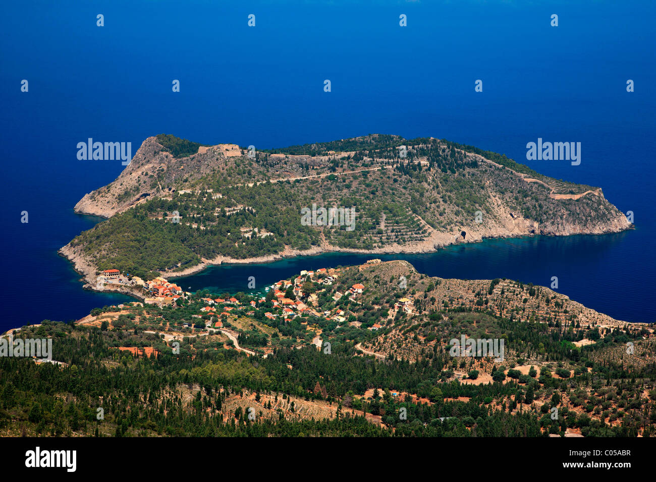 Assos (or 'Asos') one of the most beautiful villages of Kefalonia, with its castle on top of the small peninsula. - Stock Image