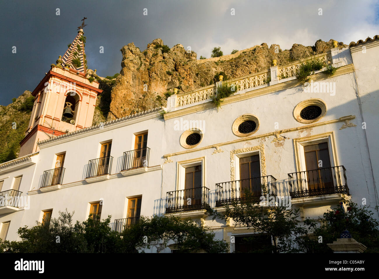 Typical Traditional Spanish Buildings Residential Area At Dusk Sunset Sun Set In The White Village Of Zahara Spain