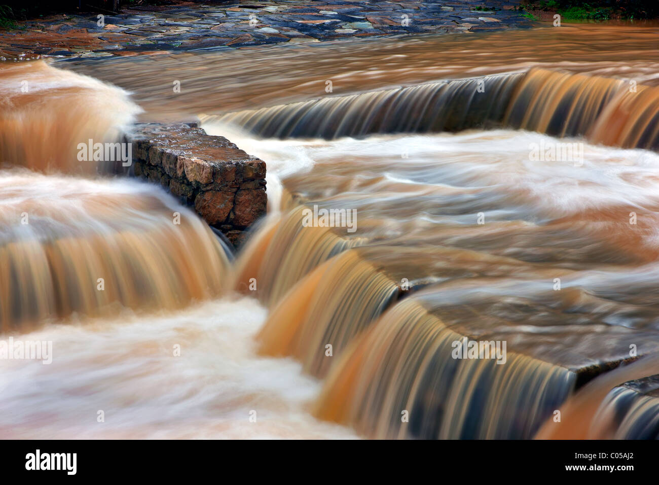 Erkyna river, in Krya Springs, Livadia, Greece, flooded. - Stock Image