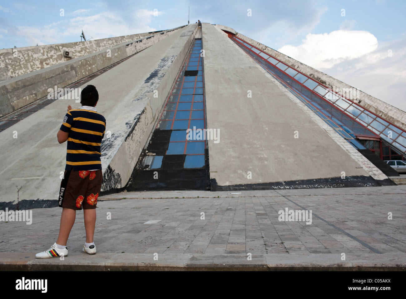Enver Hoxha Mausoleum known as the Pyramid in Tirana. - Stock Image