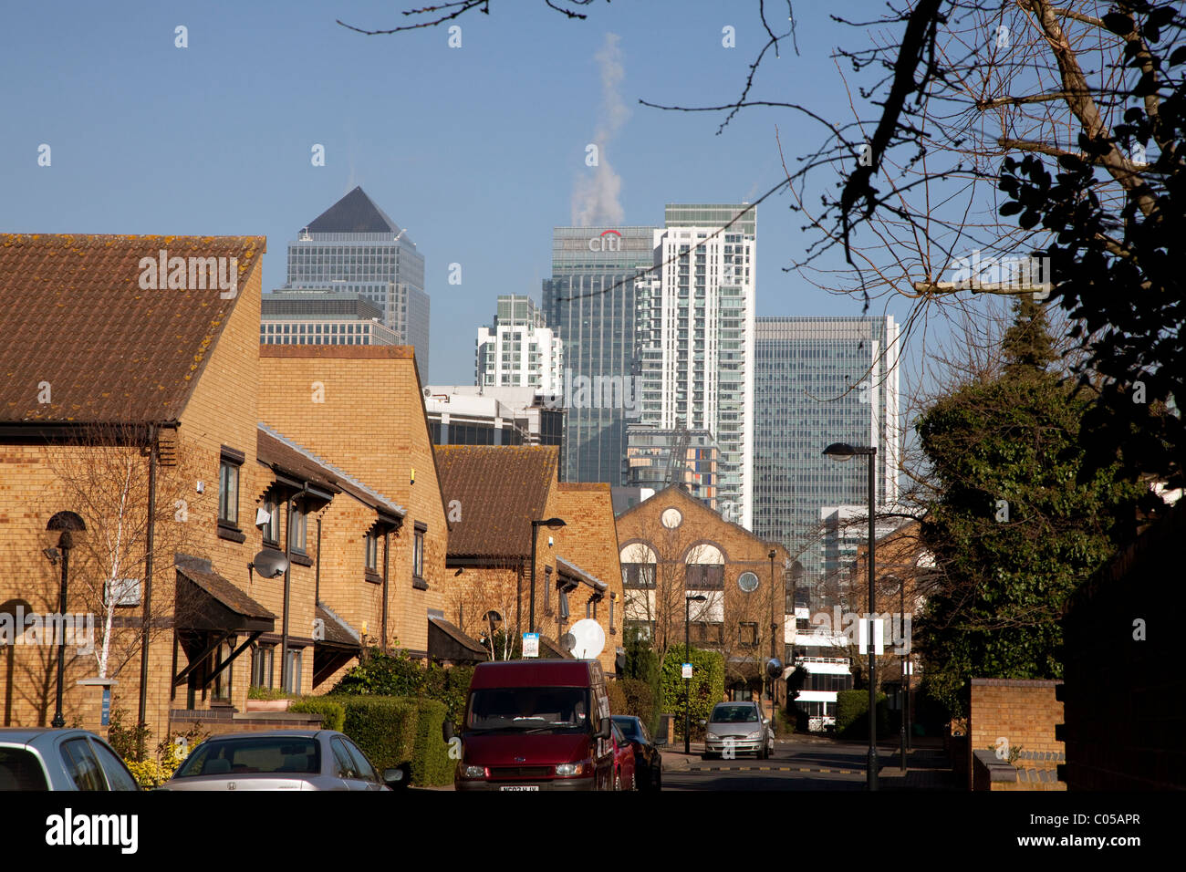 Canary Wharf seen from Mudchute, Isle of Dogs, London - Stock Image