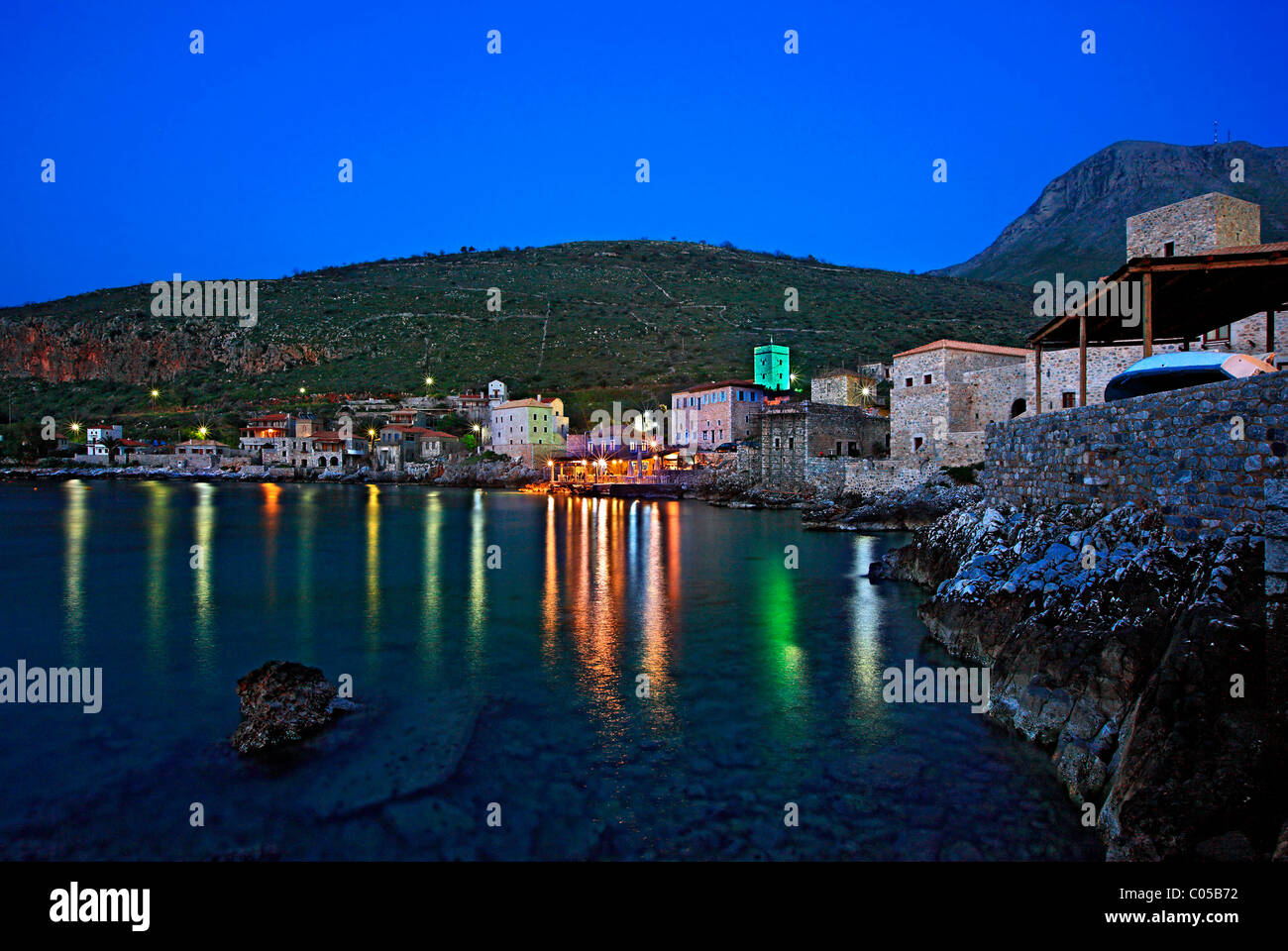 Limeni, one of the most beautiful seaside villages of Mani region, at night. Lakonia, Peloponnese. - Stock Image