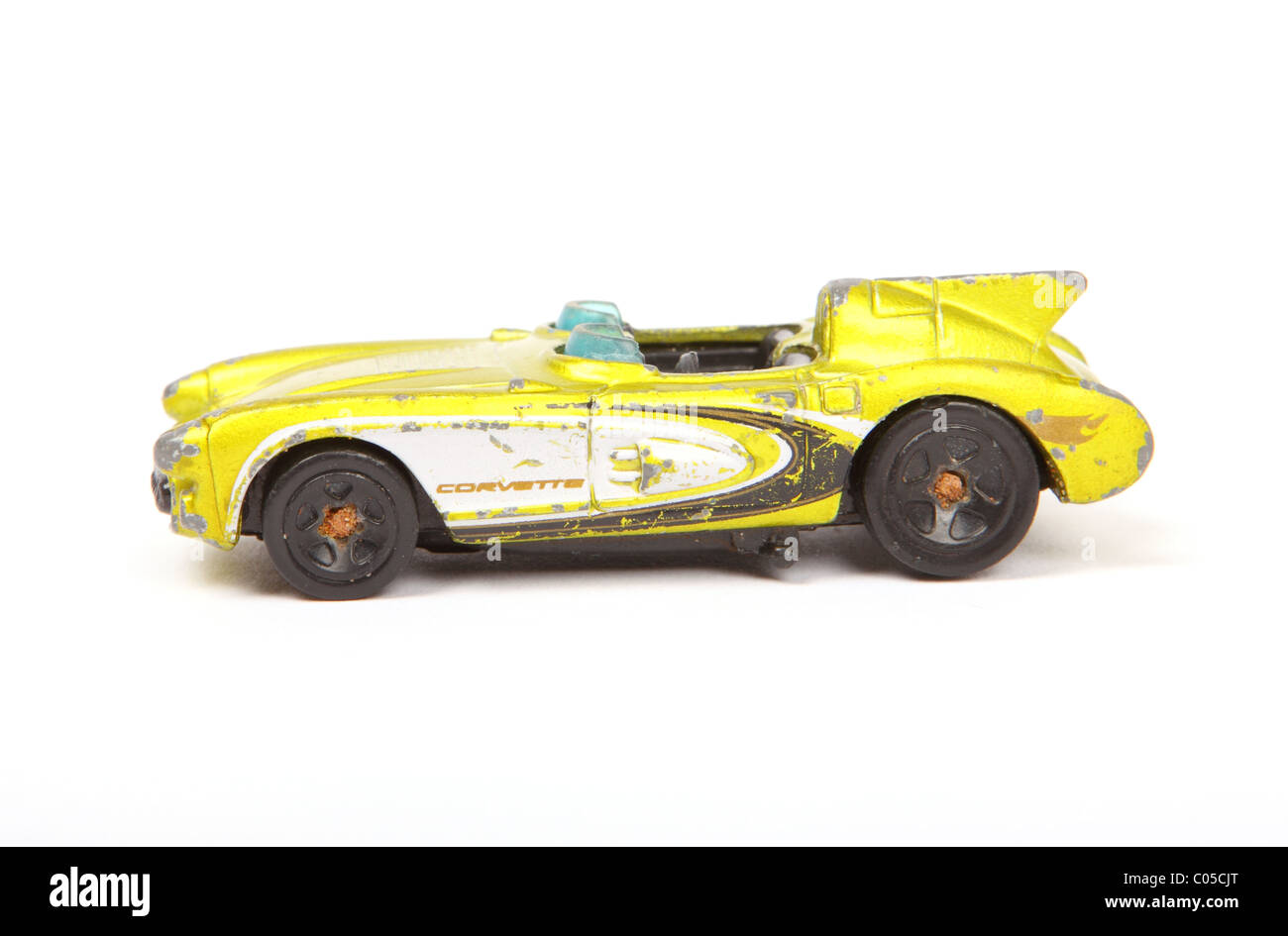 Old damaged toy Corvette car made by Mattel Hotwheels Stock Photo