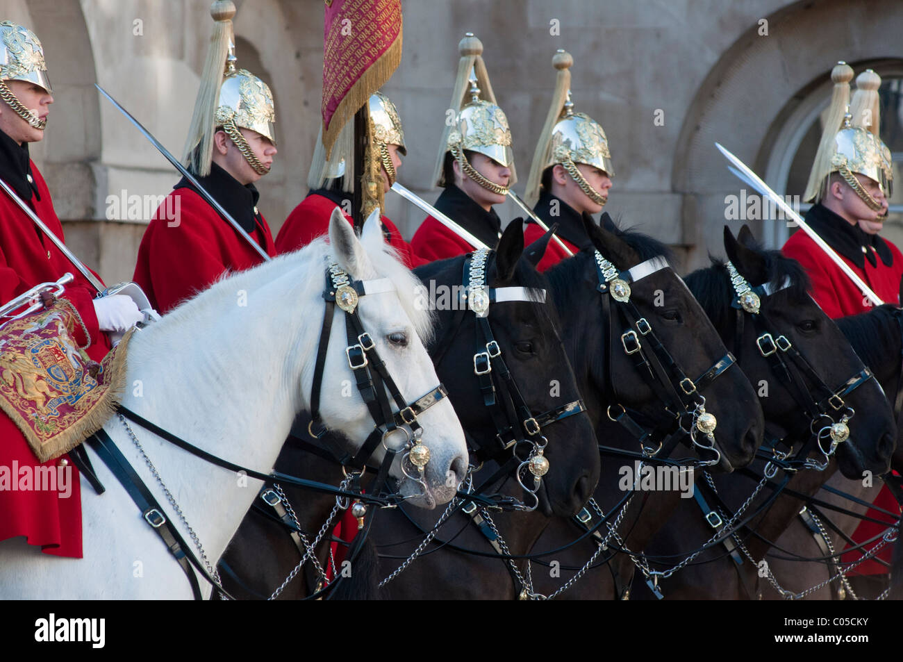 The Queen's lifeguards on horseback during 'changing of the guard' at horse guards parade, London, England. Stock Photo