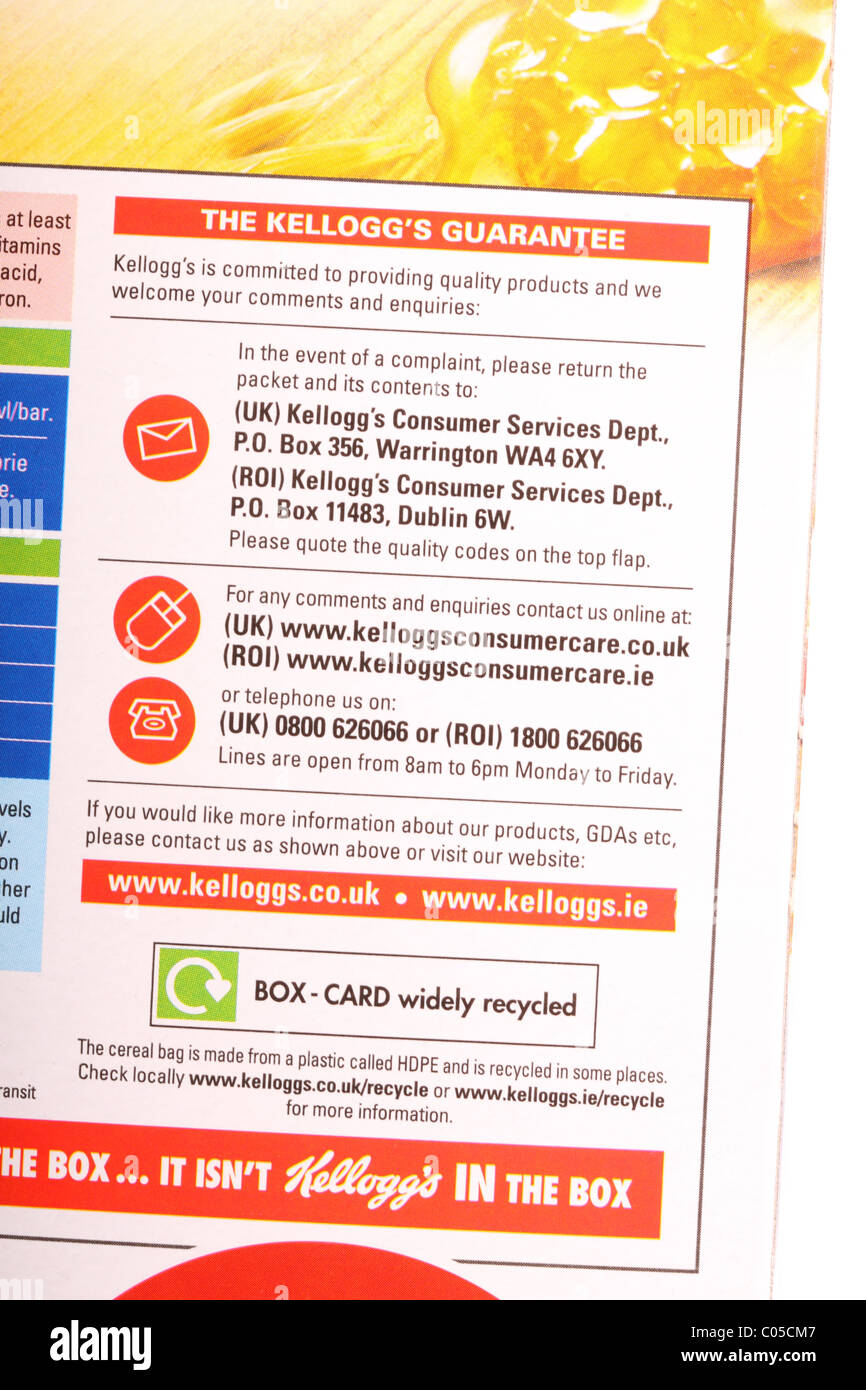 Customer services and consumer care line product information and corporate helpline information on a cereal packet Stock Photo