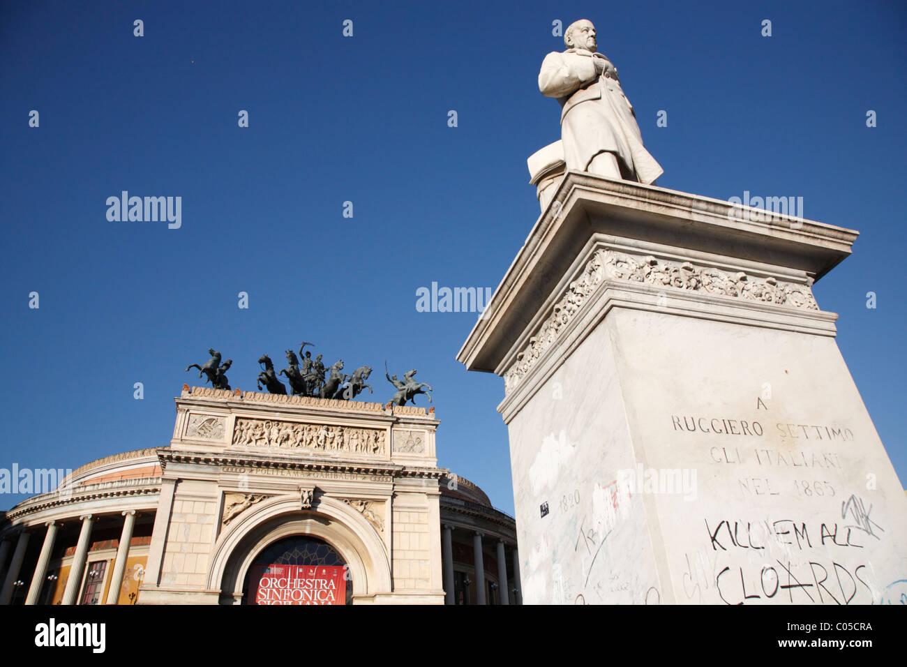Politeama also know as Garibaldi Theater, Palermo, Sicily, Italy, Europe Stock Photo