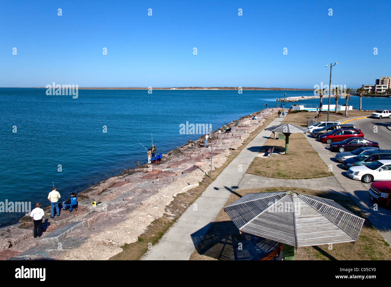 Roberts Point Park, people fishing, - Stock Image