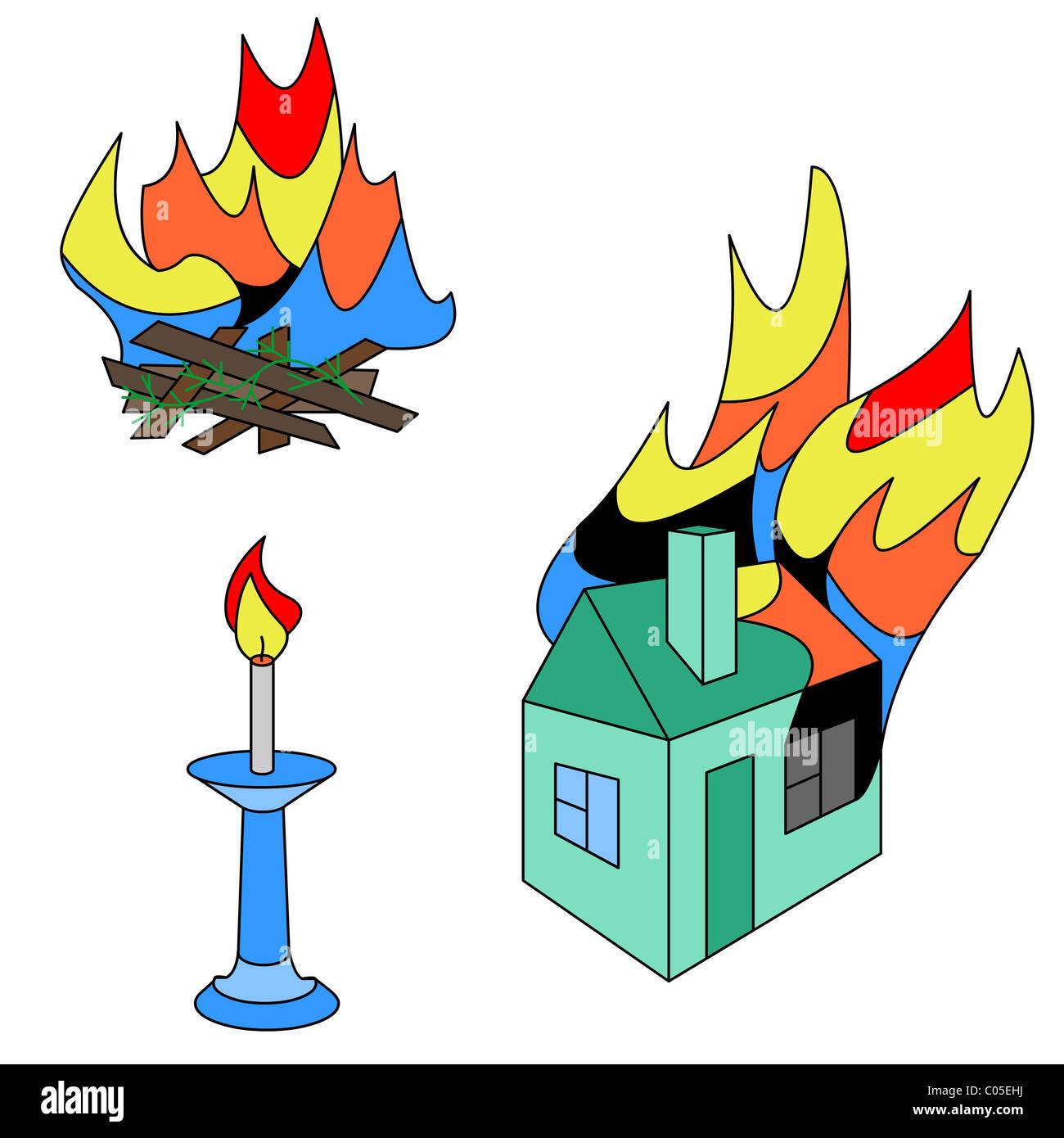 Fire burns, heats, shines, destroys - Stock Image