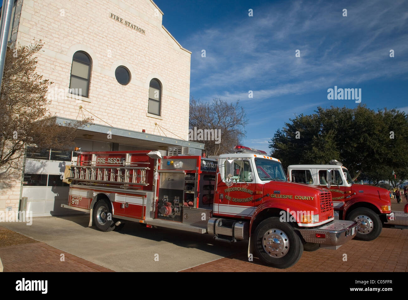 Fire Station and fire engines at Fredericksburg, Texas - Stock Image