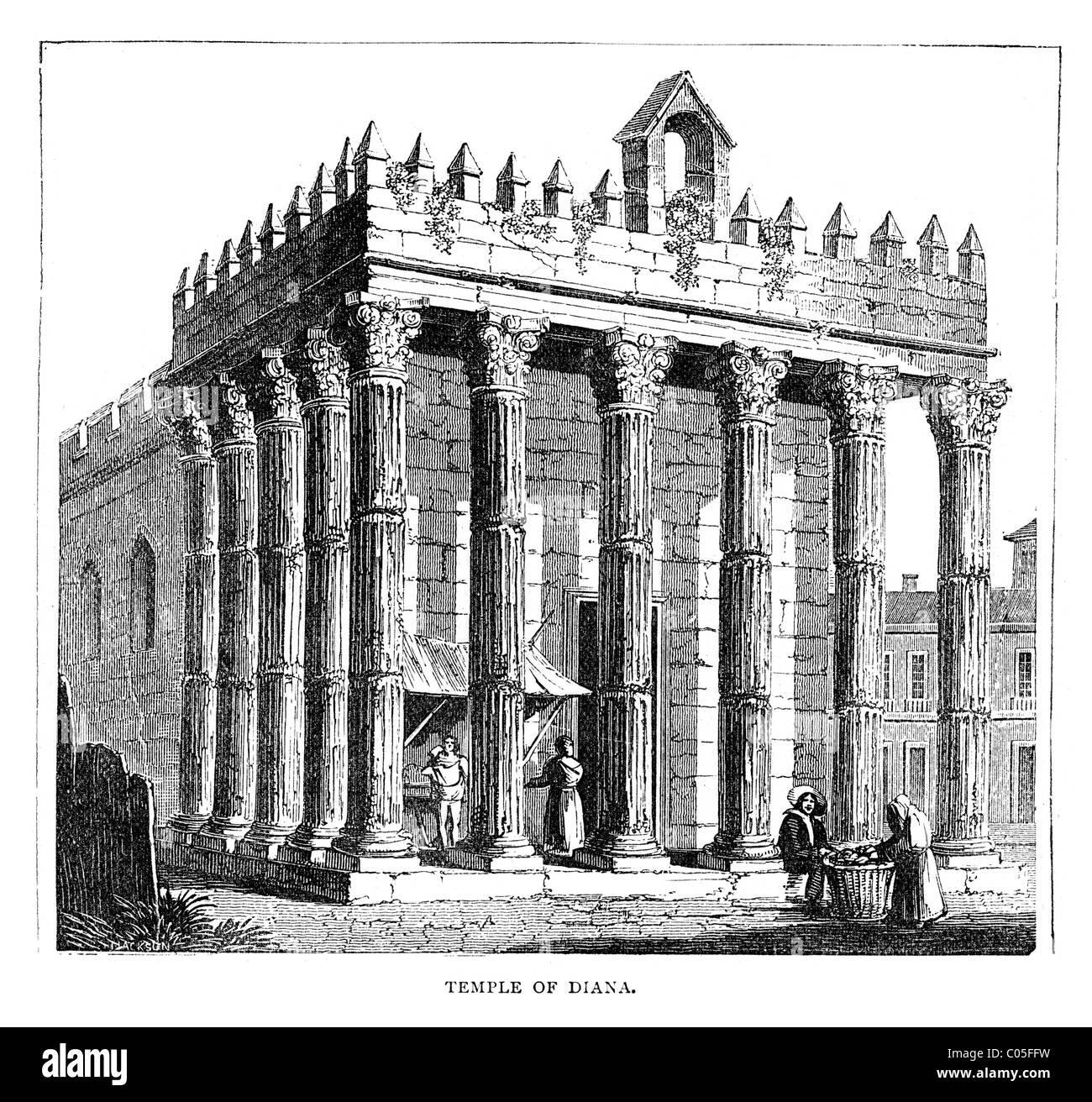 Vintage engraving of an Ancient Temple of Diana the goddess of the hunt,  associated with wild animals and woodland - Stock Image