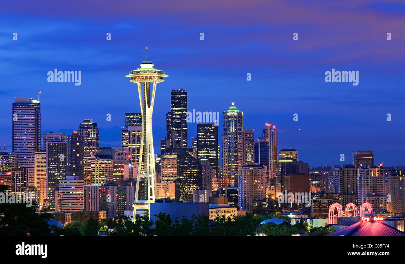 Seattle skyline at dawn on a winter day in February Stock Photo