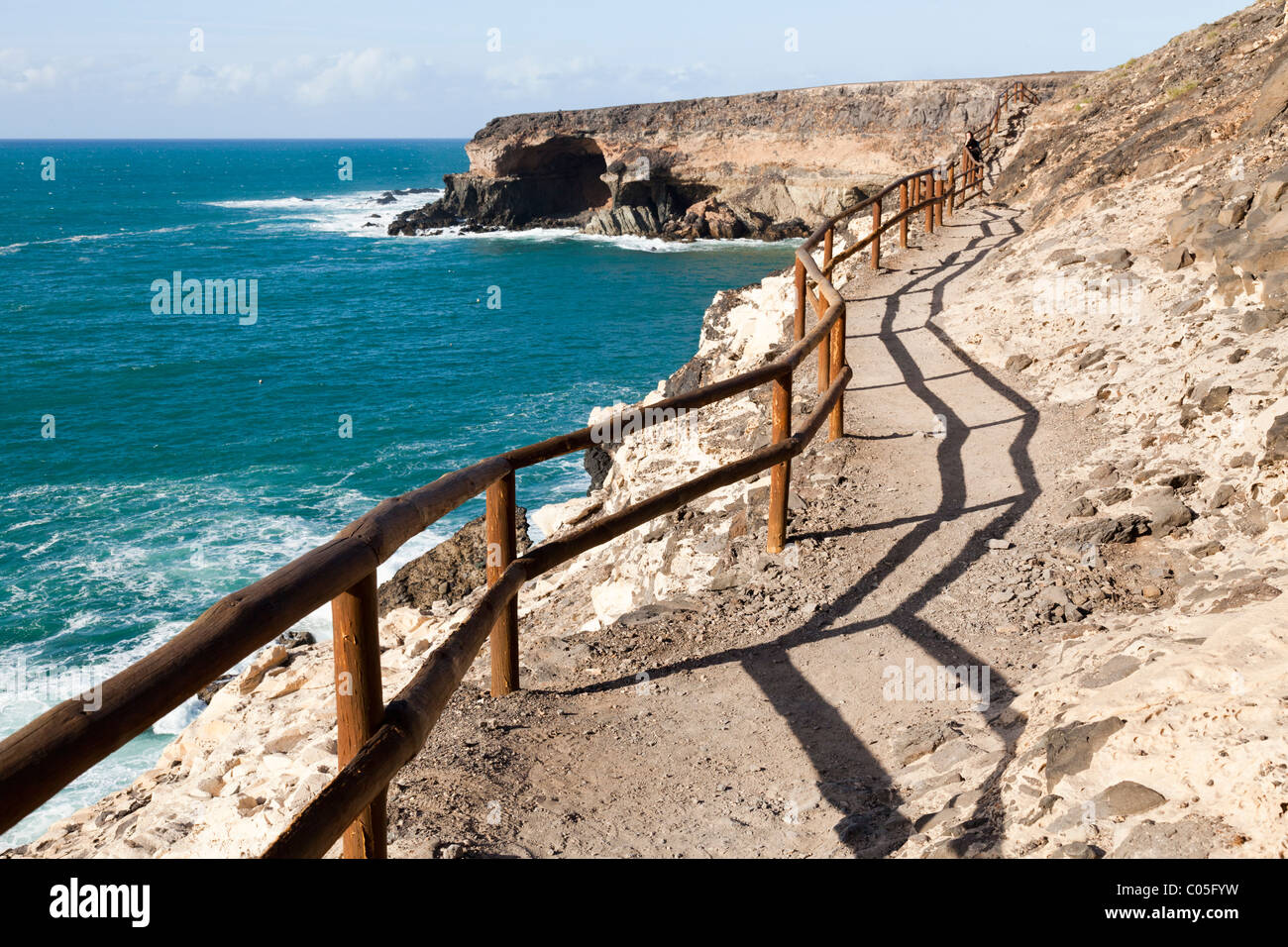Clifftop footpath walk to see the caves near the seaside village of Ajuy on the west coast of the Canary Island - Stock Image