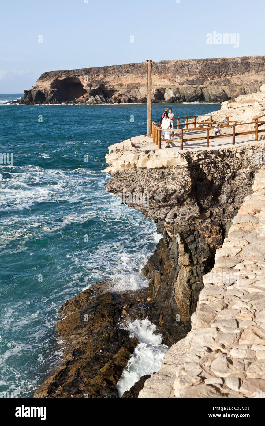 A viewpoint on the clifftop footpath walk near Ajuy on the west coast of the Canary Island of Fuerteventura - Stock Image