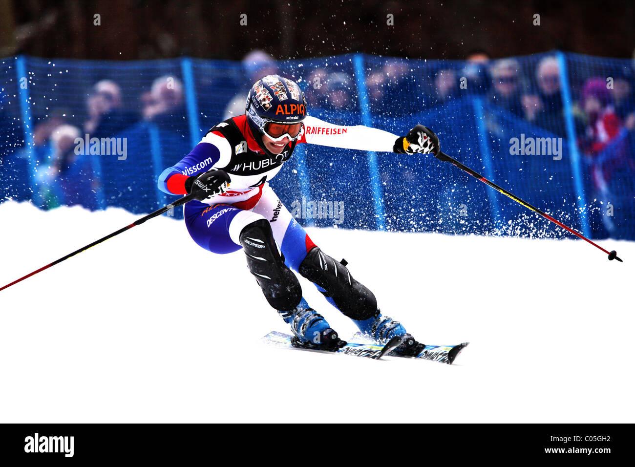 Dominique Gisin (SUI) at the FIS Alpine World Ski Championships in Garmisch-Patenkirchen 2011 Stock Photo