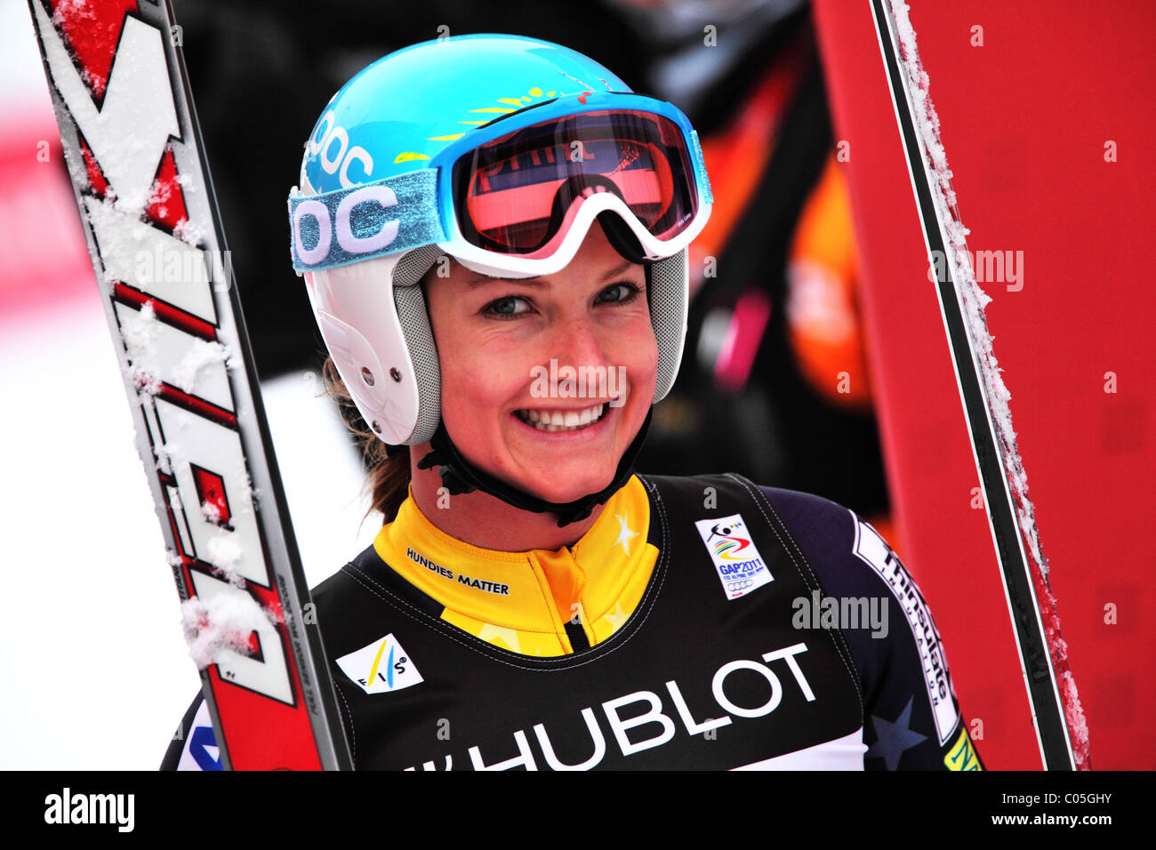 Julia Mancuso (USA) at the FIS Alpine World Ski Championships in Garmisch-Partenkirchen 2011 - Stock Image