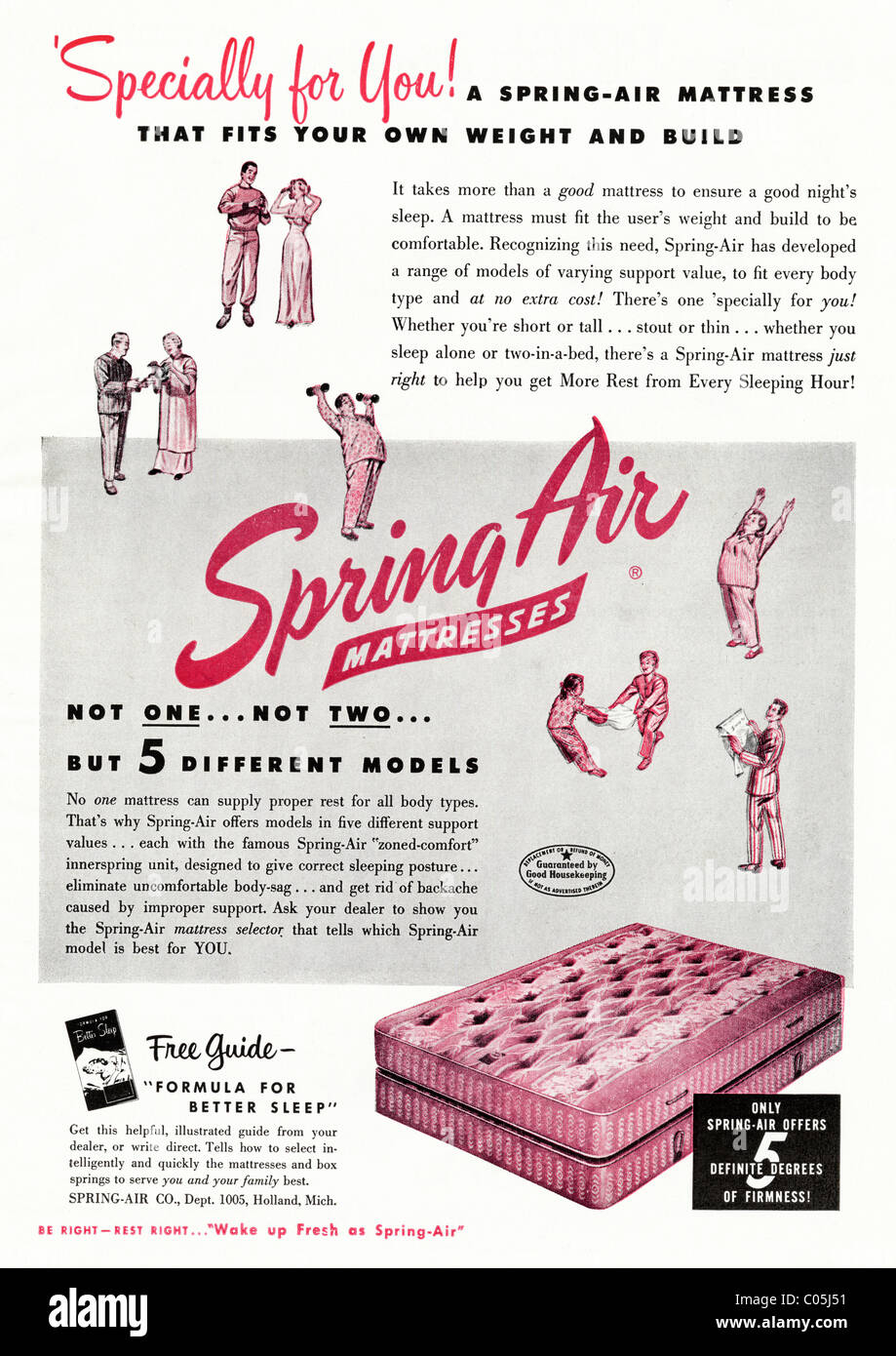 Original 1950s full page advertisement in American consumer magazine for SPRING-AIR MATTRESS Stock Photo