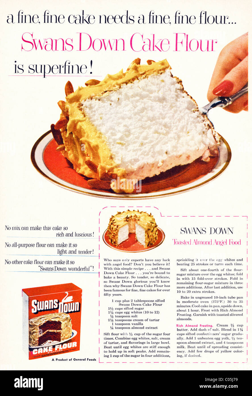 Original 1950s full page advertisement with recipe in American consumer magazine for SWANS SOWN CAKE FLOUR Stock Photo
