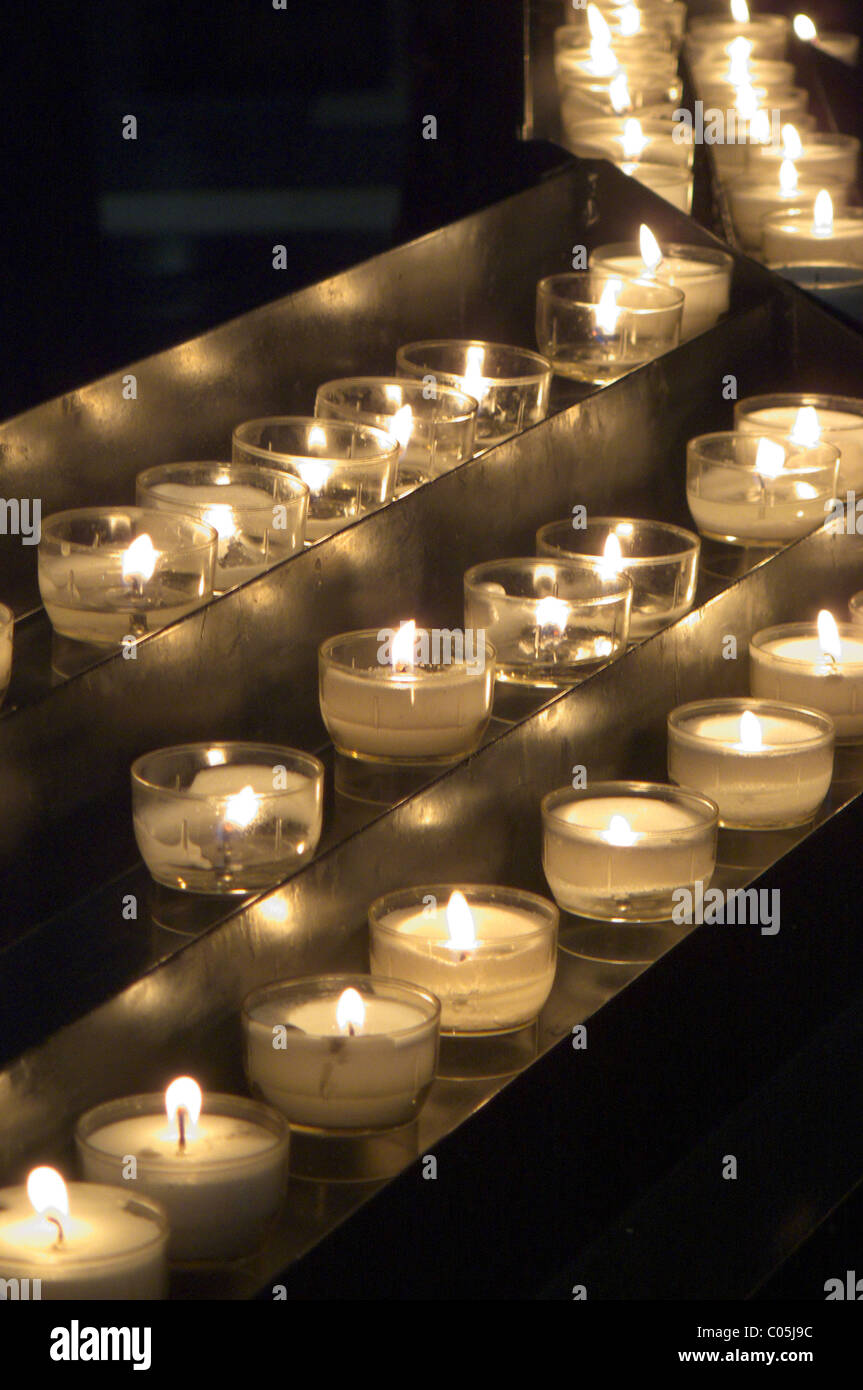 Candles in catholic church - Stock Image