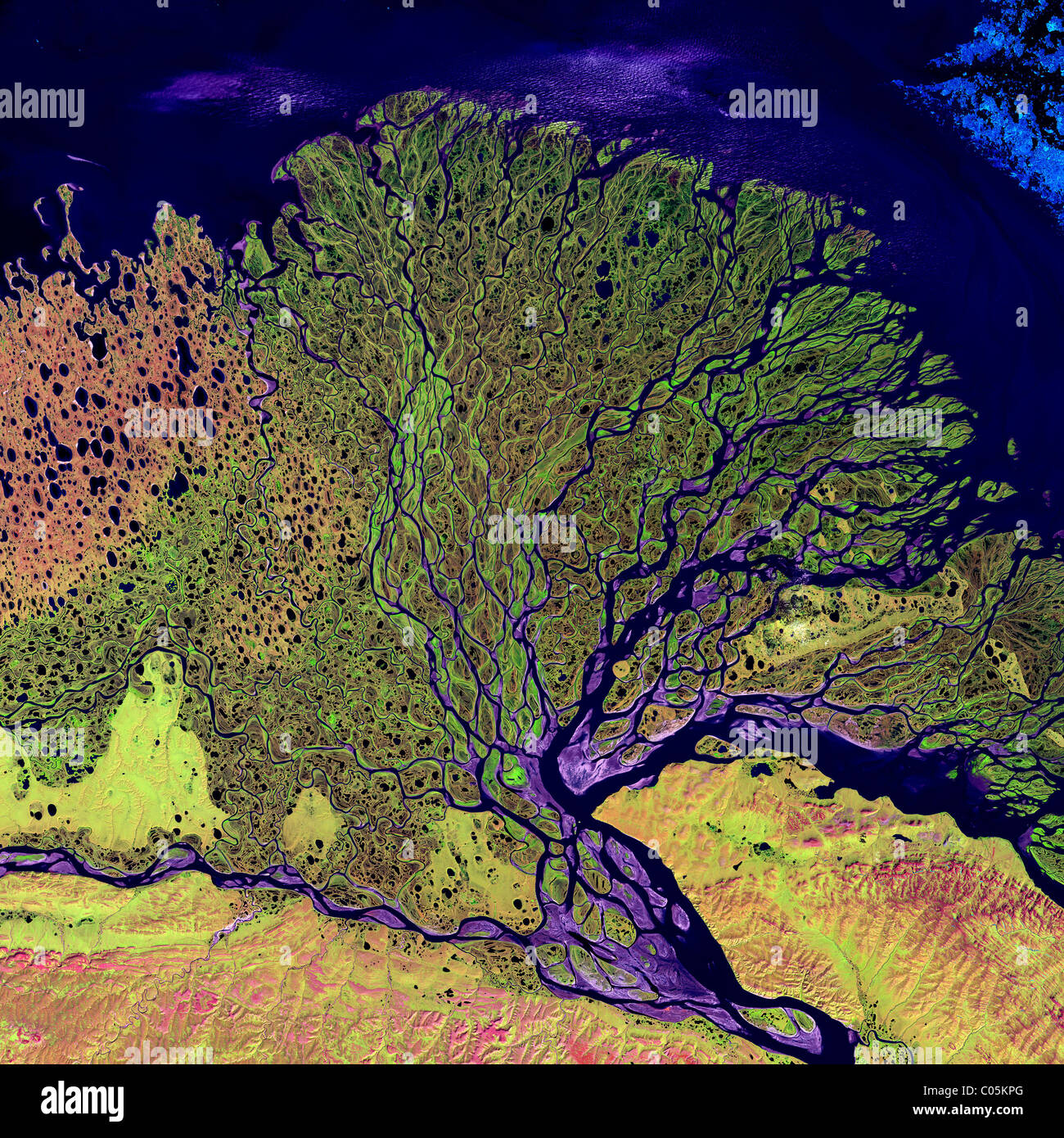 The Lena River in Russia, some 2,800 miles (4,400 km) long, is one of the largest rivers in the world. - Stock Image