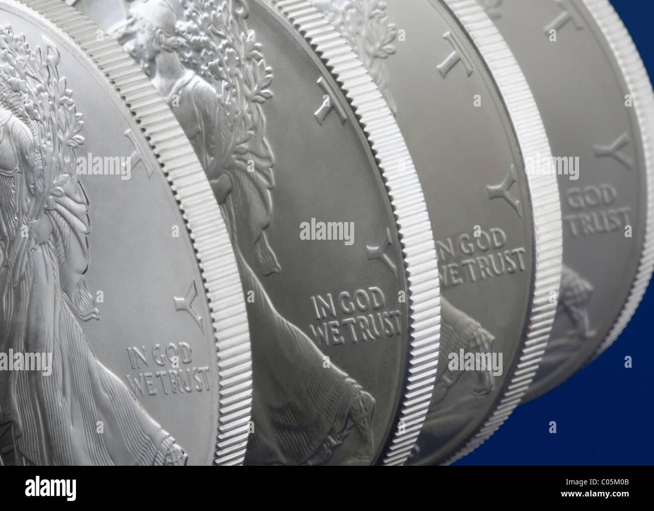 One ounce Walking Liberty US silver Eagle coins - Stock Image