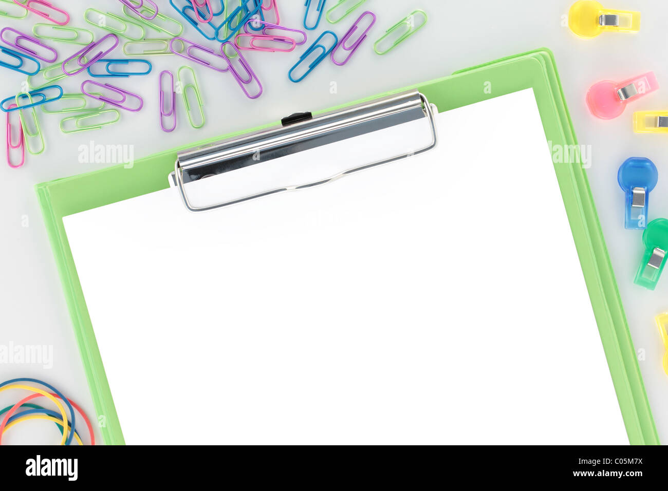 Overview Stationery Green Clipboard with 255 White Paper - Stock Image