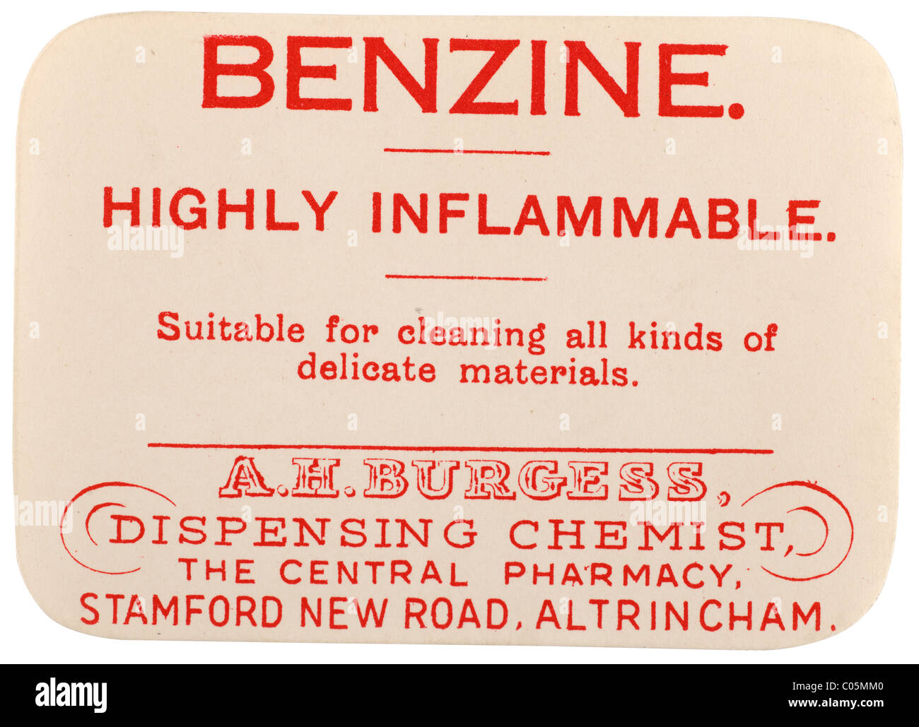 Old vintage chemists label from A H Burgess dispensing chemist in Altrincham for Benzine highly inflammable. EDITORIAL - Stock Image