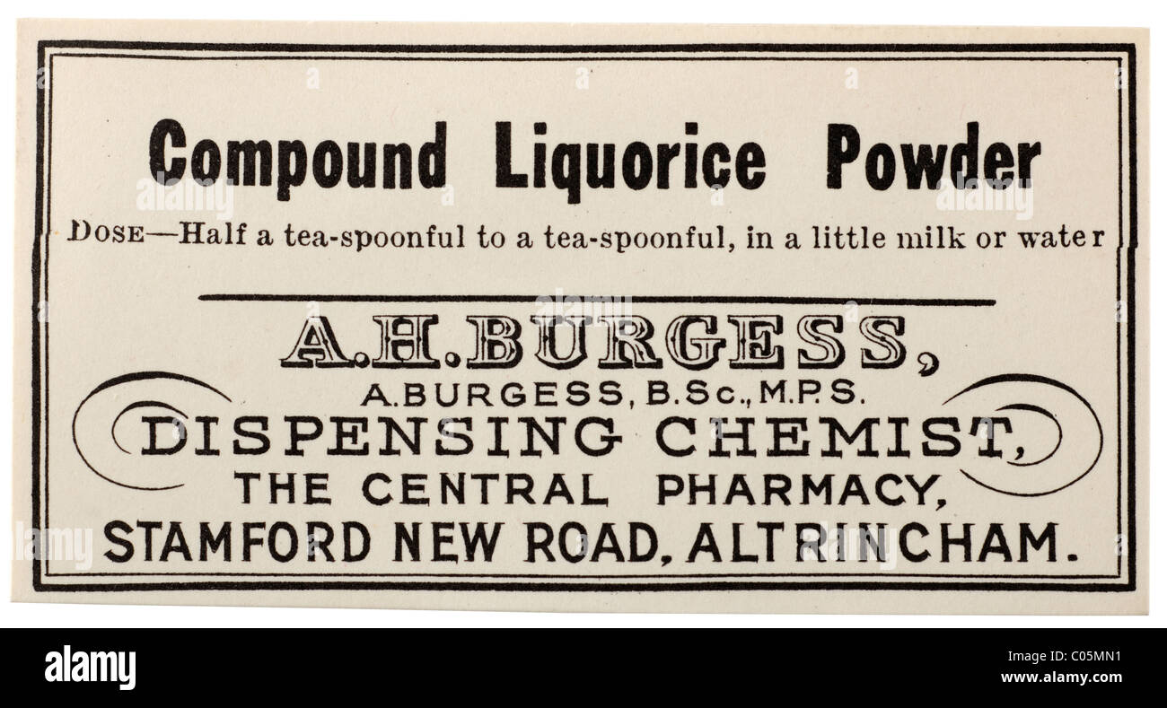 Old vintage chemists label from A H Burgess dispensing chemist in Altrincham for Compound Liquorice powder. EDITORIAL - Stock Image