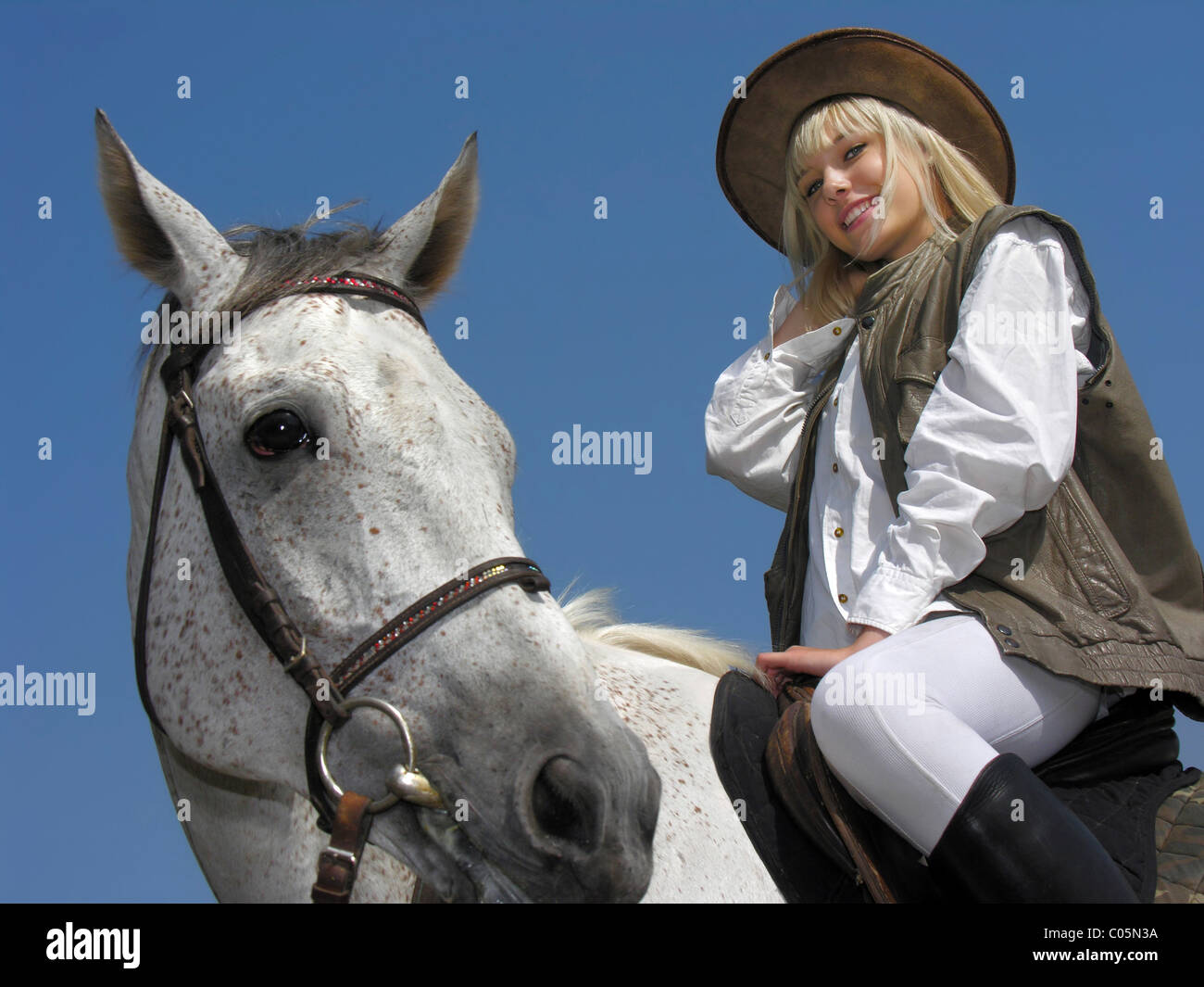 attractive young horsewoman - Stock Image