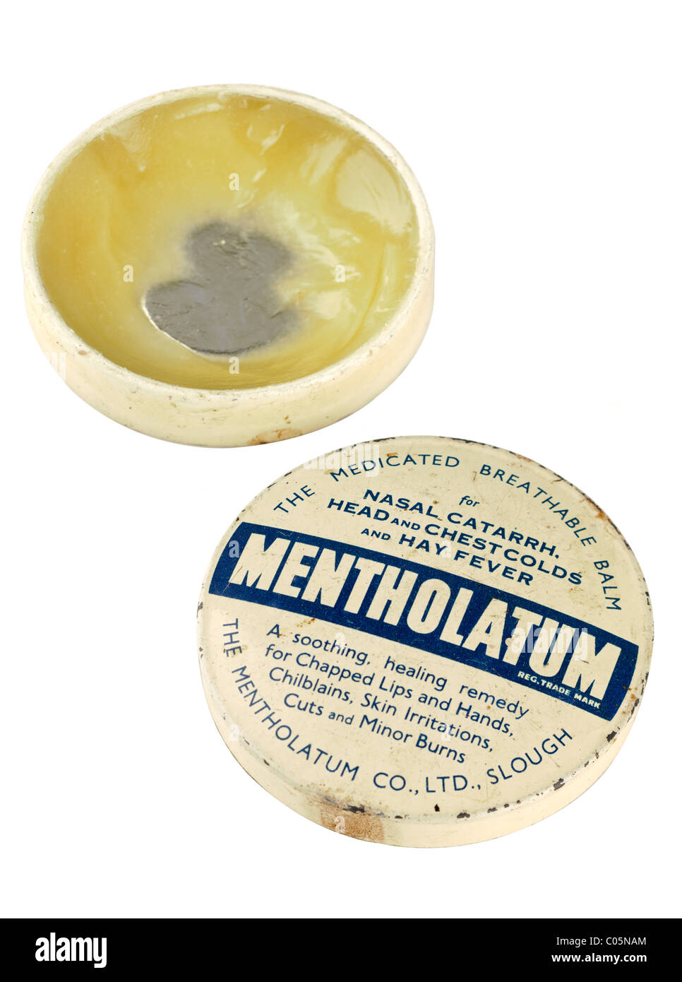 Old half full vintage Mentholatum tin containing a medicated breathable balm. EDITORIAL ONLY - Stock Image