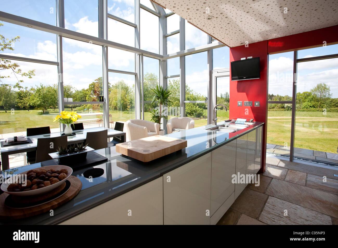 Open Plan Kitchen The Sliding House Suffolk England. Photo:Jeff Gilbert - Stock Image