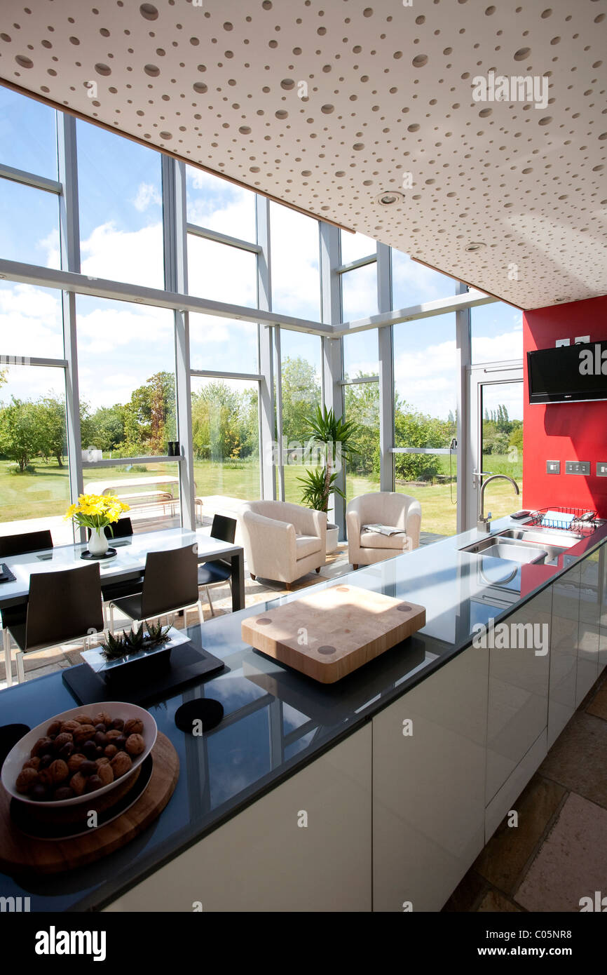 Open Plan Kitchen and Dining Area The Sliding House Suffolk England. Photo:Jeff Gilbert - Stock Image