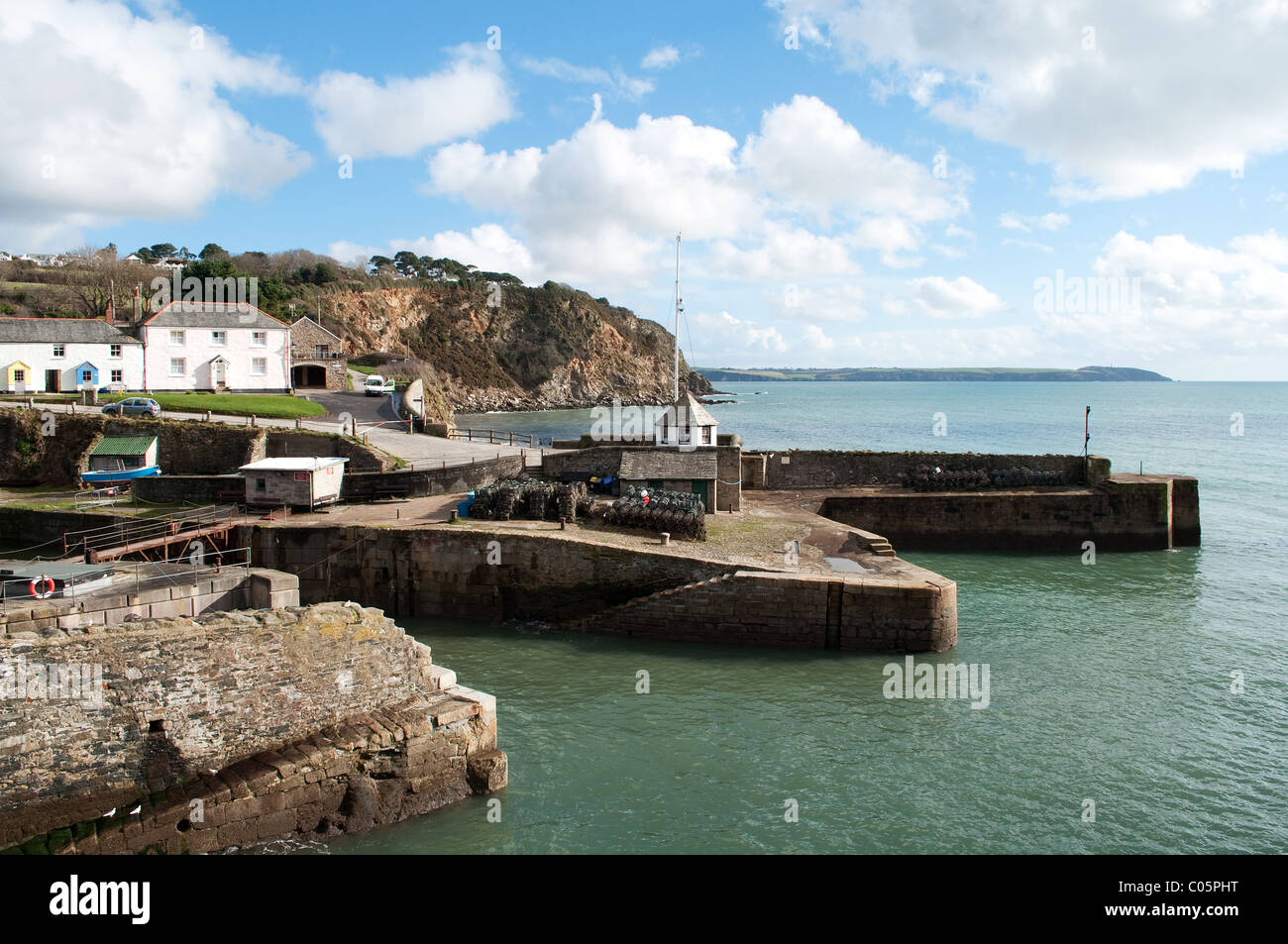 The historic georgian harbour at Charlestown in Cornwall, UK - Stock Image