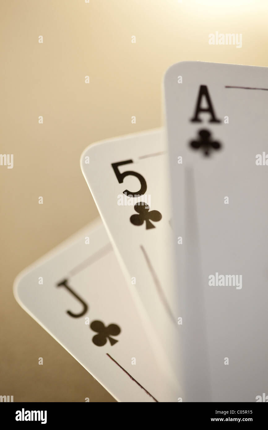 3 playing cards - Stock Image
