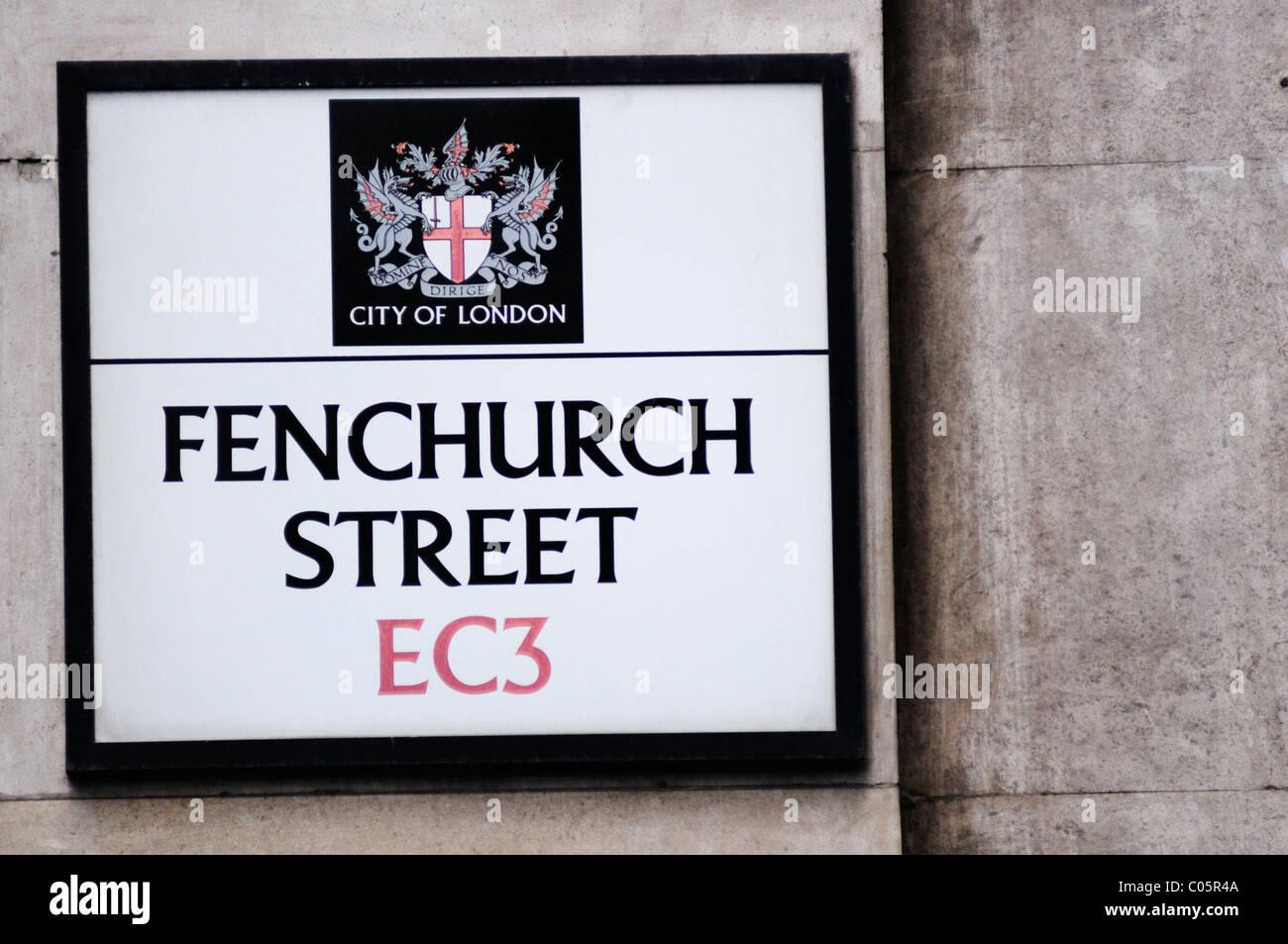 Fenchurch Street EC3 Street Sign, London, England, UK - Stock Image