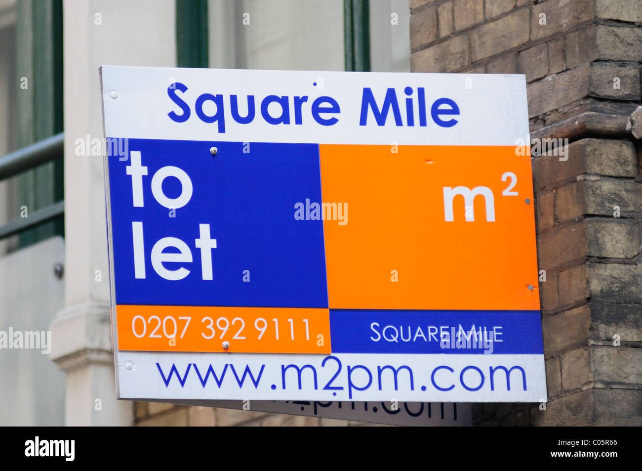 Square Mile property to let estate agents board, London, England, UK - Stock Image