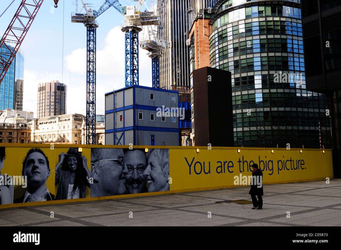 Construction Cranes on The London Pinnacle building site from in front of the Aviva building, Leadenhall Street, - Stock Image