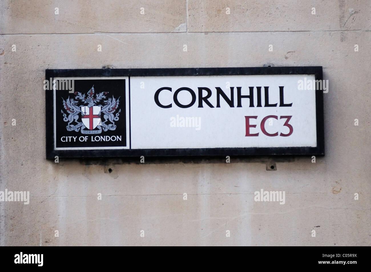 Cornhill EC3 Street Sign, London, England, UK - Stock Image