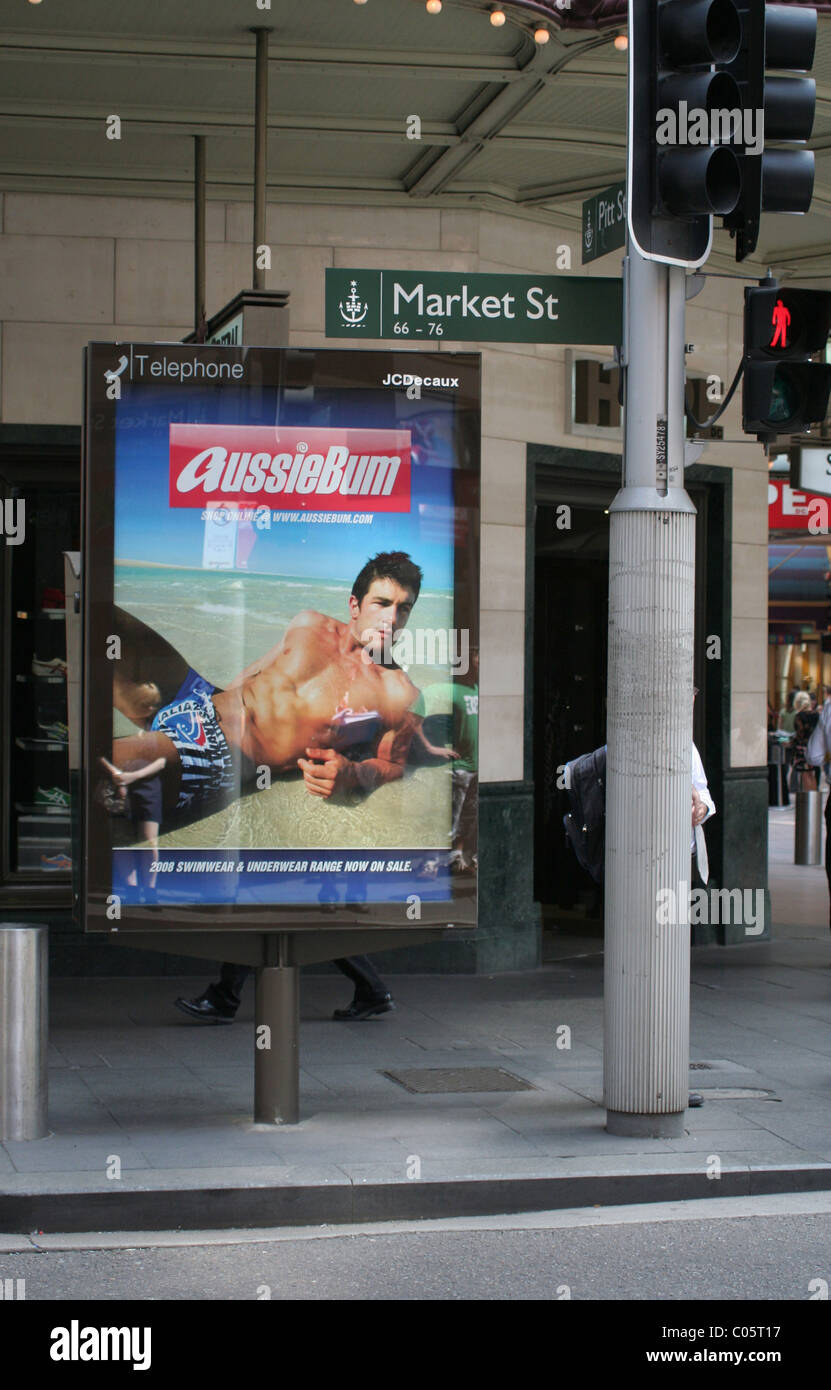 AussieBum advertisement sign at bus stop in Market Street, Sydney, NSW - Stock Image