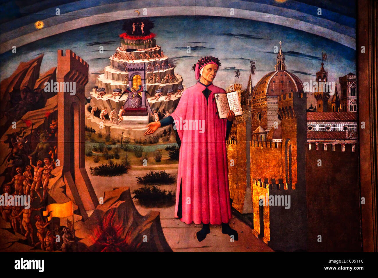 Dante and Divine Comedy painted by Domenico di Michelino in 1465 Duomo Basilica Cathedral, Church Florence Italy - Stock Image