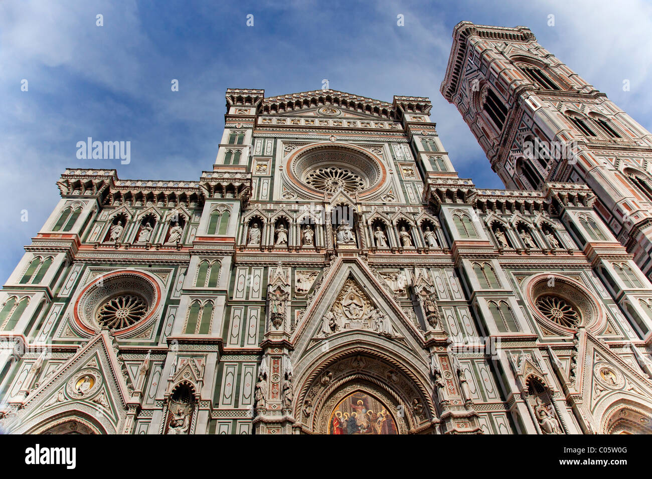 Duomo Facade Statues Frescos Cathedral Church Giotto's Bell Tower, Florence Italy - Stock Image