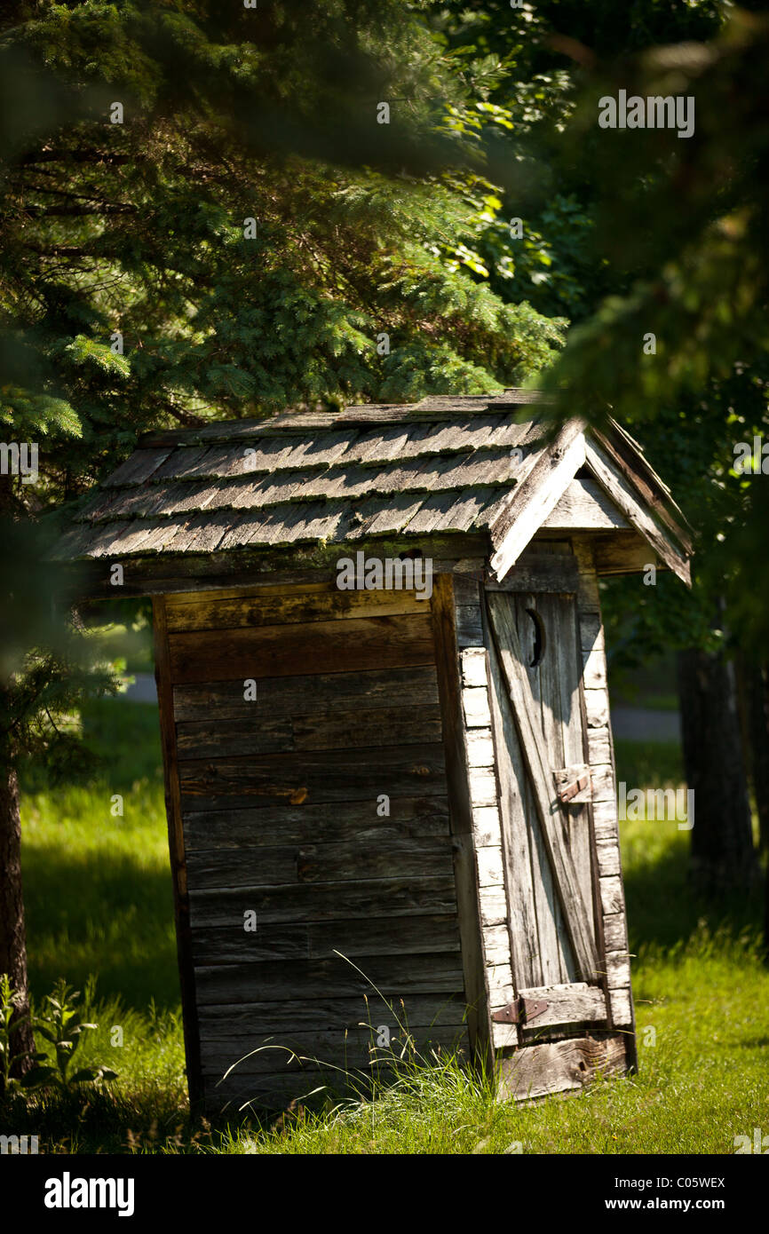 Out house in the Northwoods of Wisconsin. - Stock Image