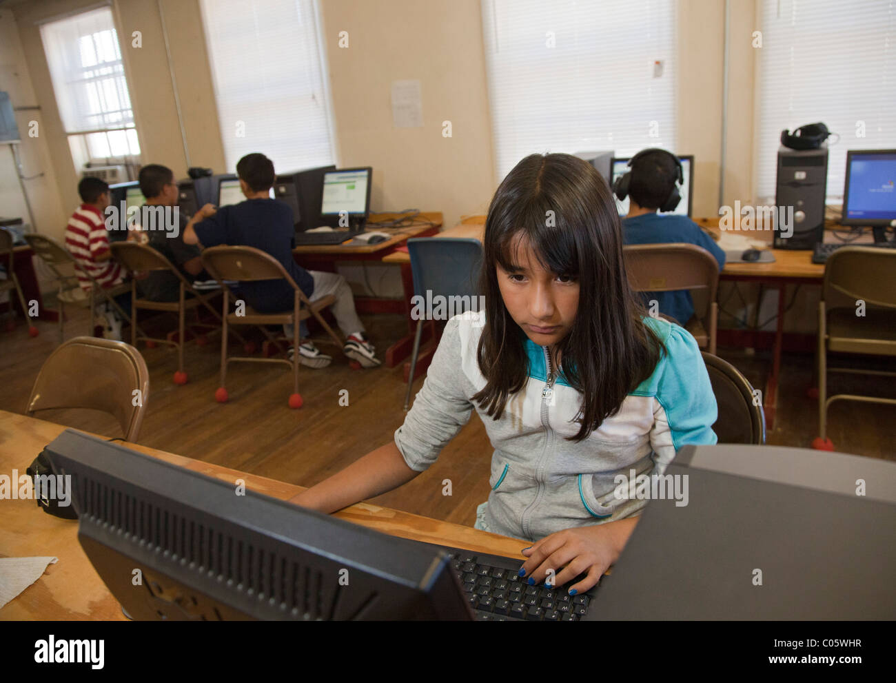 Student in School Computer Lab - Stock Image