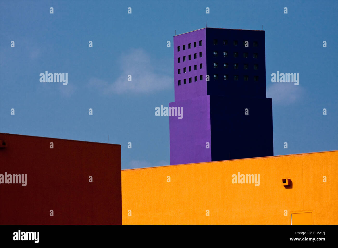 Colorful and distinctive architecture of the Latino Cultural Center in Dallas, Texas designed by architect Ricardo - Stock Image