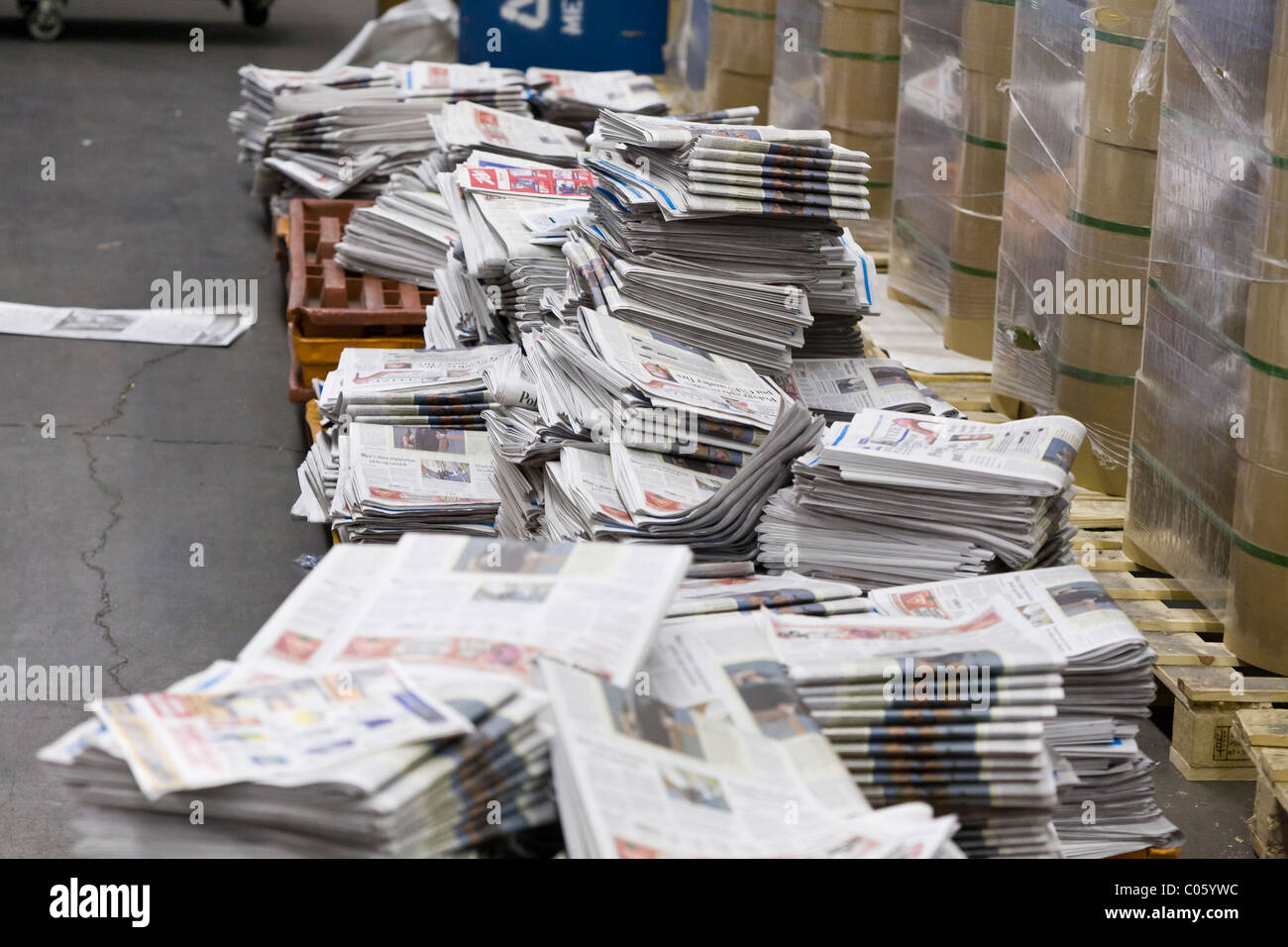 Unsold Copies Of The Ottawa Citizen Newspaper Await Recycling Ottawa Ontario Canada