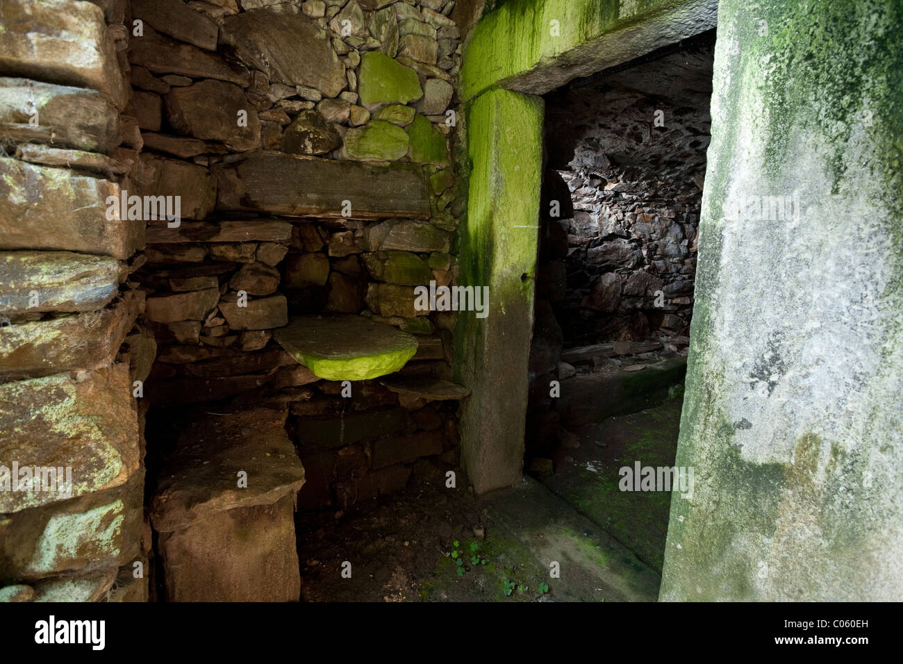 A damp, dark grotto or cellar of an abandoned house in Switzerland. - Stock Image